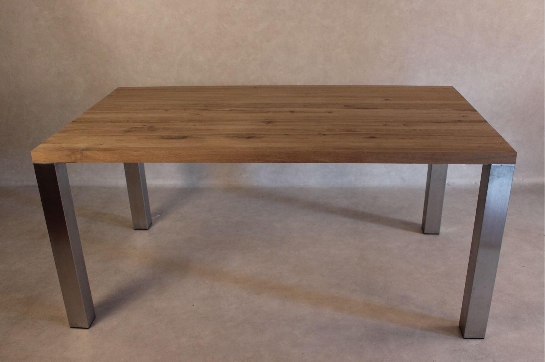 Edelstahl Tischbeine ~ 4 Tischbeine Edelstahl gebürstet quadratisch 80x80mm