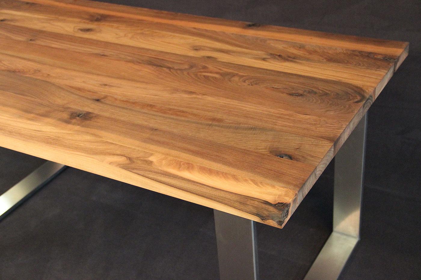 Tischplatte massivholz kaukasischer nussbaum rustikal ohne for Massivholz tischplatte