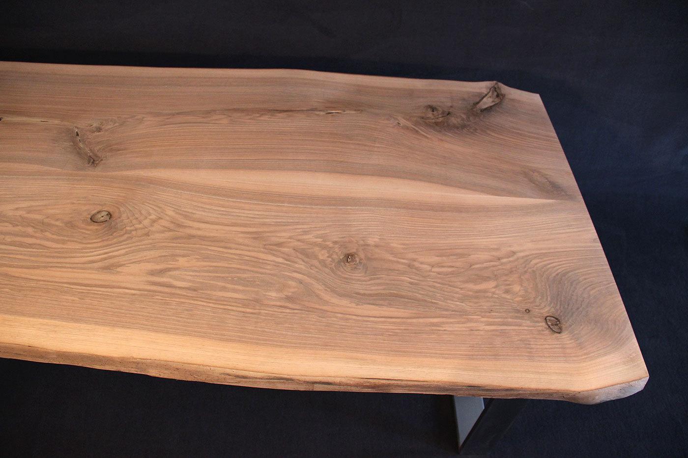 Tischplatte Massivholz Baumkante ~ Tischplatte mit Baumkante Massivholz Kaukasischer Nussbaum Rustikal [R