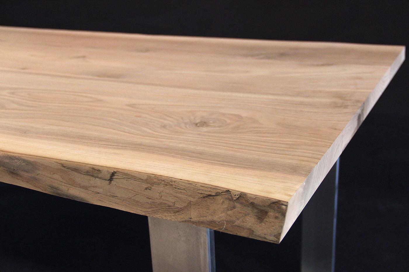 Tischplatte Massivholz Baumkante ~ Massivholz Tischplatte Nußbaum kaukasisch, gedämpft, AB mit Splint