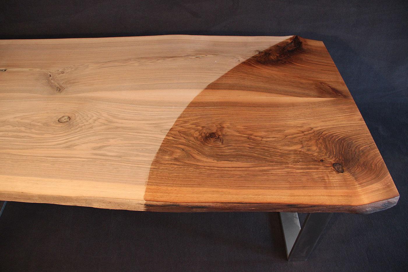 Tischplatte Massivholz Baumkante ~ Tischplatte mit Baumkante Massivholz Kaukasischer Nussbaum Rustikal