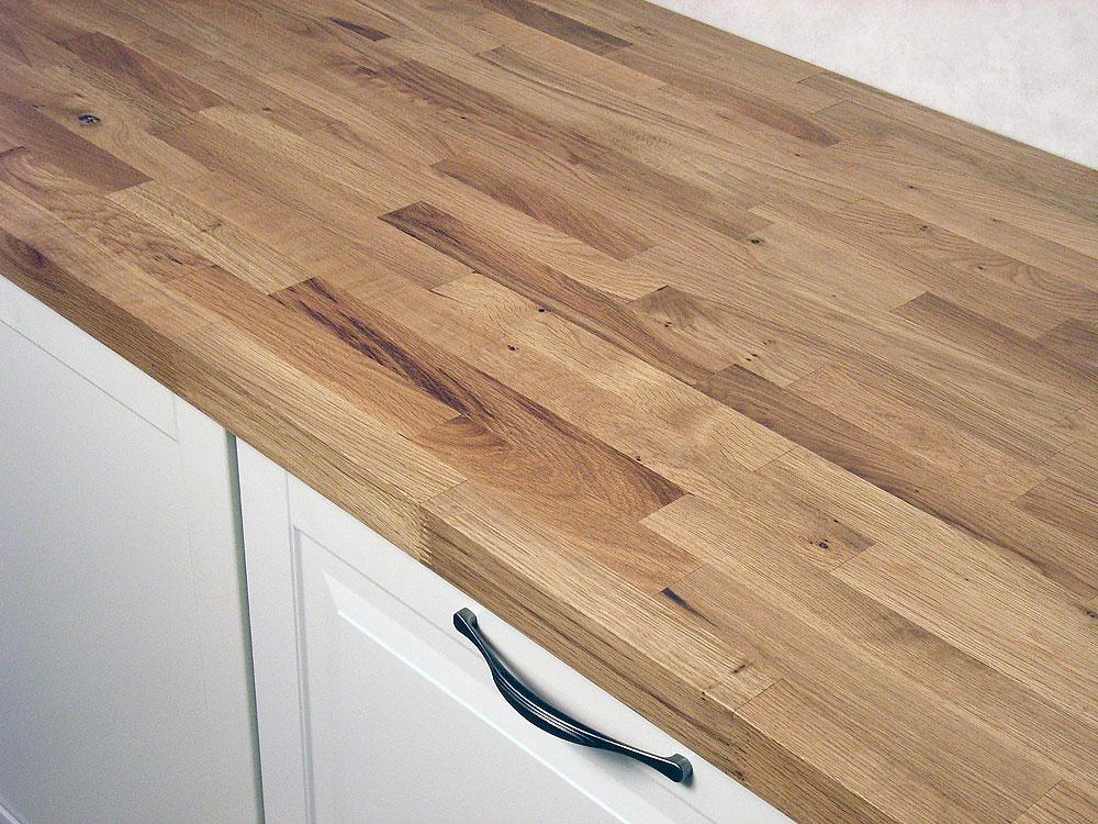 Arbeitsplatte / Küchenarbeitsplatte Massivholz Wildeiche / Asteiche Kgz  26/4200/600