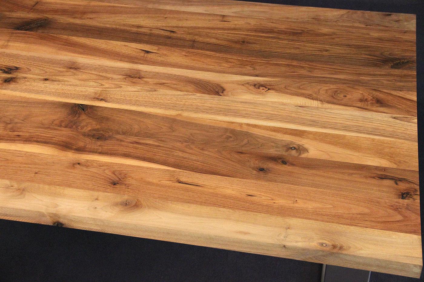 Arbeitsplatte Holz massivholz kaukasischer nussbaum rustikal mit splint dl 30 2200 1200