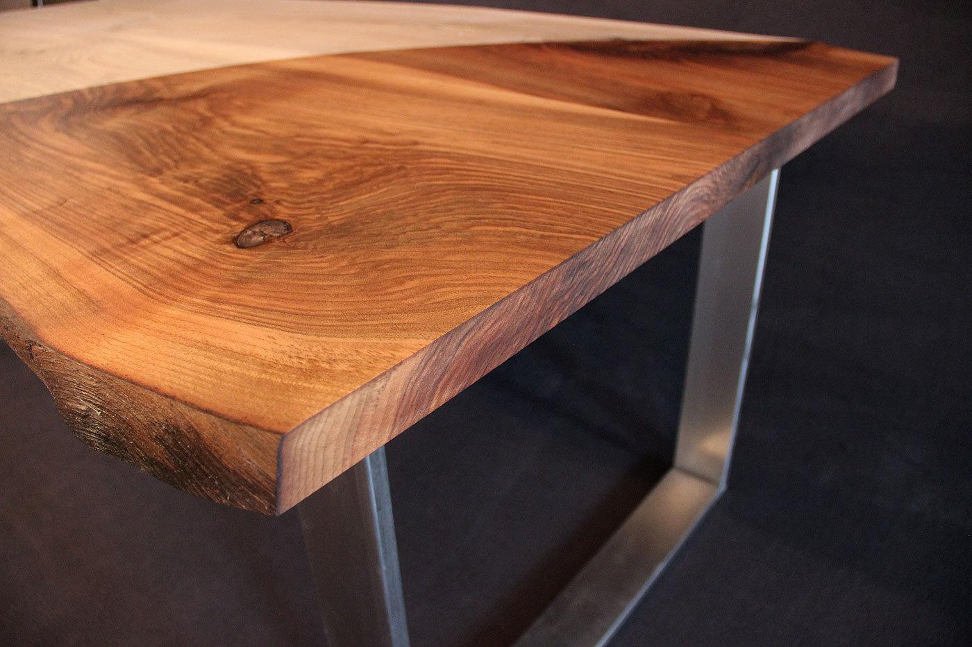Tischplatte massivholz baumkante  mit Baumkante Massivholz Kaukasischer Nussbaum Rustikal mit Splint ...